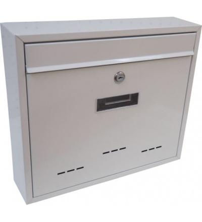 TOPTRADE schránka dopisní, kovová, bílá, s dvířky, štítkem a čelním košem, 310 x 360 x 90 mm 502509