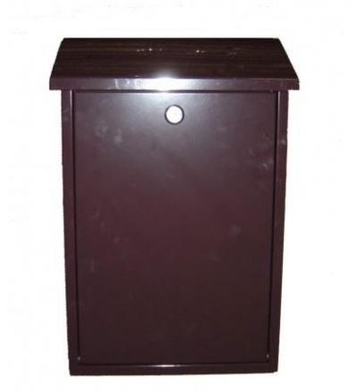 TOPTRADE schránka dopisní, kovová, hnědá,s dvířky a horním košem, 390 x 250 x 100 mm 502501