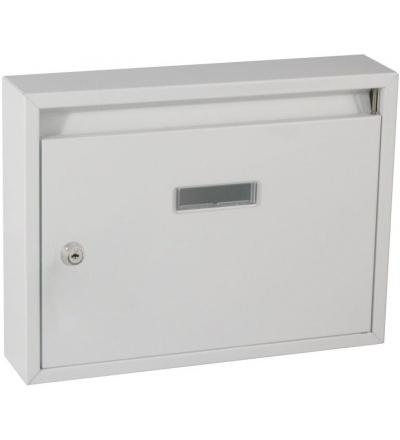 TOPTRADE schránka dopisní, kovová, paneláková, bílá,  340 x 240 x 60 mm 502499
