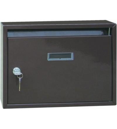 TOPTRADE schránka dopisní, kovová, paneláková, hnědá,  340 x 240 x 60 mm 502500