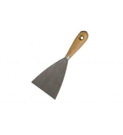 TOPTRADE špachtle ocelová, s dřevěnou rukojetí a náklepovým nýtem, 100 mm, hobby 500246