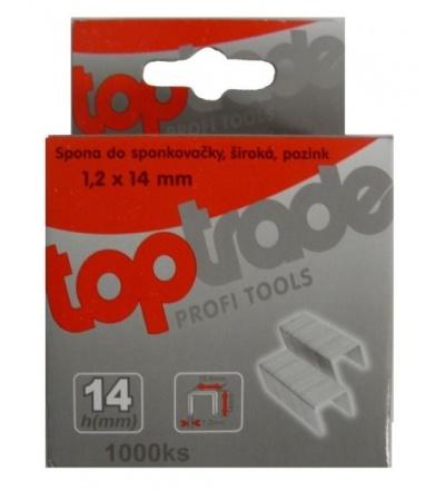 TOPTRADE spona do sponkovačky, pozinkovaná, široká, balení 1000 ks, 1,2 x 14 mm 601213
