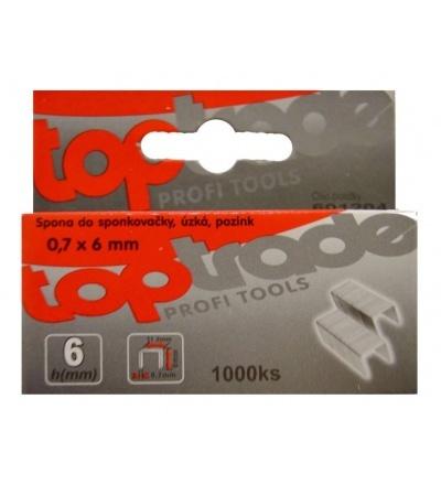 TOPTRADE spona do sponkovačky, pozinkovaná, úzká, balení 1000 ks, 0,7 x 6 mm 601204