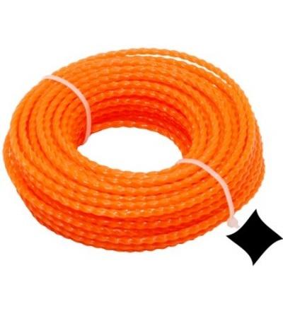 TOPTRADE struna do sekačky, plastová, průřez spirála, 2 mm x 15 m 307045