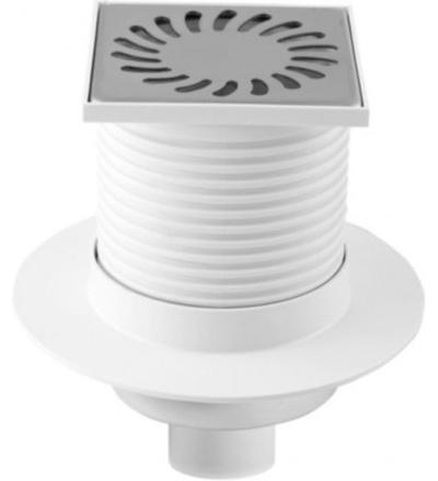 Vpusť podlahová,plastová,s  nerez mřížkou,límcem,průtok 42l/min.,se spodním vývodem O 50mm 500819