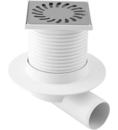 Vpusť podlahová,plastová,s  nerez mřížkou,límcem,průtok 53l/min.,s bočním vývodem O 50mm 500818