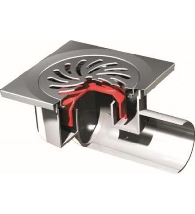 Vpusť podlahová, uzavíratelná, nerez / plast, s bočním vývodem O 50 mm, 150 x 150 mm 500803