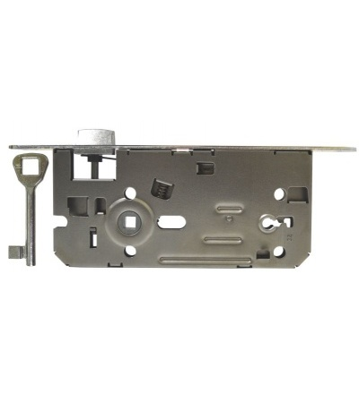Zámek stavební, pozinkovaný, levý, na klíč, 90 x 80 x 22 x 50 mm 603107